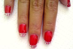 Red Biosculpture Gel, with diamonte french. How To Do Nails, Claws, French, Red, Beauty, Beleza, French People, Cosmetology, French Language