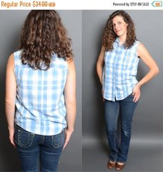20% OFF SALE 80's Denim Plaid Tank Top 1980's Collared Sleeveless Shirt Vintage Women's  Hipster Fashion Medium Large Blouse. by HankAndGeorge on Etsy https://www.etsy.com/listing/240527925/20-off-sale-80s-denim-plaid-tank-top