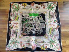 Florida Souvenir Vintage Handkerchief  1940s50s Silk by AddVintage, $8.00