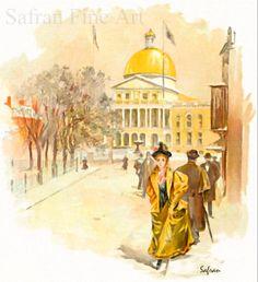 State House Boston 1896  Vintage Art Print  11x12 by SafranFineArt, $27.00