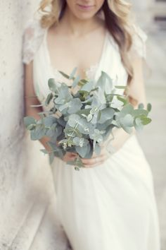 lovely green bouquet | Paris Elopement from Sarah Kate Photography