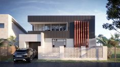 Scyon Matrix cladding, modern, Standing Seam cladding on upper level, rendered concrete garden wall with Breeze block. Concealed box gutters and parapet walls to hide them. Cubic, square form, boxy look, very modern and architectural
