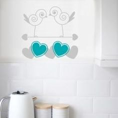 """Lovebirds Uccellini con Cuore Shabby Chic Wall Sticker - decoration for your walls! Vintage wallsticker innspired by """"Provence"""" and France"""