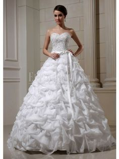 A-line Sweetheart Cathedral Train Satin Organza Wedding Dresses