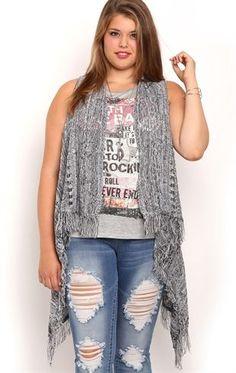 Deb Shops Plus Size Sleeveless Open Stitch Cozy with Fringe