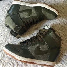 """Nike 'Dunk Ski Hi' Wedge Sneaker EUC-only worn twice, so almost new!  Love these but they run a bit small and I would do better in a 1/2 size up:(  Measurement from end to end is about 9.5"""".  They r like an olive green color w approx heel height of 3"""" w a 3/4"""" platform.   Rubber sole.  Awesome sneaker for the girl who loves casual fashion and comfort No box Nike Shoes Wedges"""