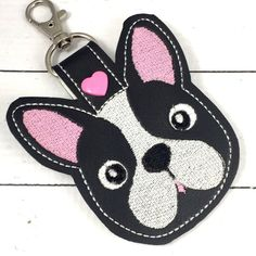 Puppy tag - novelty keyfob - boston terrier puppy keyring keychain -best gifts for her- gifts under 10 Easter Gift Bags, Backpack Tags, Best Gifts For Her, Gifts Under 10, Little Puppies, Beaded Brooch, Key Fobs, Felt Crafts, Craft Fairs