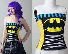 Batman stripe corset top - custom smarmyclothes geek punk shirt