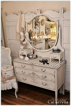 This pretty piece is painted in neutrals, but has quite a few decorative elements.  It looks great so it should sell, but it *might* take a little longer than if plain - a buyer looking for a dresser with this style needs to come along.  That could happen within days or it could take months.  Still... it's lovely. #shabbychicdresserswithmirror