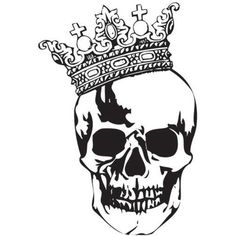 Skull with Crown Tattoo Stencil Designs
