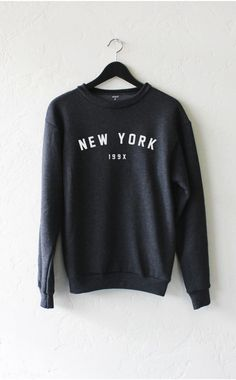 "- Description Details: 'New York 199x' soft oversized crew neck fleece sweater by NYCT Clothing. Unisex, oversized/loose fit. Measuerements: (Size Guide) XS/S: 38"" bust, 27"" length, 25"" sleeve length                                                                                                                                                                                  More"
