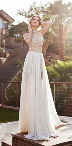 Ivory 2015 Prom Dress with Chiffon Appliques, Popular Evening Dress #suzhoudress