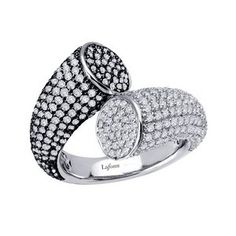 Lafonn Crossing Ring   SIMULATED DIAMOND STERLING SILVER BONDED WITH PLATINUM BLACK/WHITE PAVE CROSSING RING