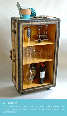 Vintage Luggage Beverage Server !!! Matches our living room style