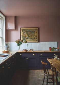 Real Homes - Make a new kitchen cost less Kitchen with pink paint from Farrow and Ball. Don't overlook the fact that buying new kitchen appliances is Kitchen Cost, New Kitchen, Kitchen Dining, Kitchen Decor, Eclectic Kitchen, Cute Kitchen, Decorating Kitchen, Awesome Kitchen, Rustic Kitchen