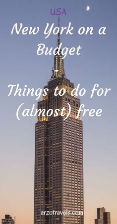 New York on a budget. Things to do for (almost) free in the Big Apple.