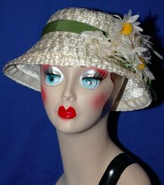 Vintage Woven Straw Bucket Cloche Ladies Dress Hat with Daisies Downton Abbey Style $24.99
