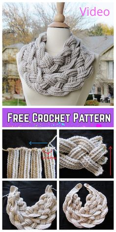 Most current Images Crochet cowl braided Style Crochet Double Layered Braided Cowl Free Crochet Pattern-Video Crochet Braids, Col Crochet, Crochet Double, Crochet Scarves, Crochet Shawl, Crochet Clothes, Crochet Stitches, Crochet Baby, Crochet Patterns For Scarves