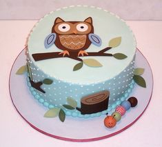the cute owl baby shower cake