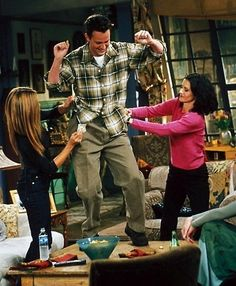 Well he's having fun! ;D Behind the scenes of Chandler Bing's dance!