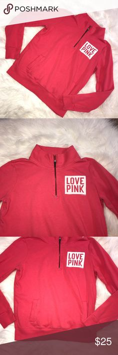 Victoria Secret pink sweatshirt Very cute and vibrant sweatshirt! Size small. Quarter zip. In good condition! PINK Victoria's Secret Tops Sweatshirts & Hoodies