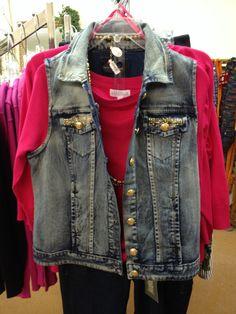 Funky denim vest with beaded pockets