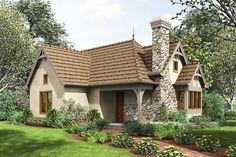 This two bed room cottage home plan jumps on the tiny home plan bandwagon and delivers a pleasant storybook-style abode with nice curb attraction. Small Cottage House Plans, Small Cottage Homes, Small Cottages, Cottage Plan, Craftsman House Plans, Small House Plans, Stone Cottages, Cottage Ideas, Tiny Homes