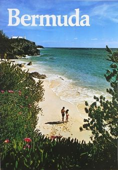 Beach View. Mounted on linen. For sale on lushergallery.com. #bermudabeach #vintageposter #lushergallery