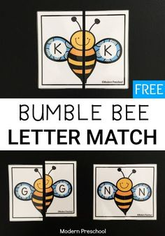 Simple FREE printable bumble bee alphabet letter match activity.  Preschoolers & kindergarteners can match uppercase letters while working on letter recognition!