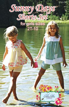 Sunny Days Shorts Set Sewing Pattern for Girls. $12.95, via Etsy.