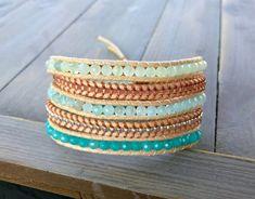 Aqua and Seafoam Jade Beachy Vegan Wrap bracelet