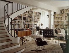 Frederic Mechiche bookshelf staircase. Most of his interiors are in black and white.