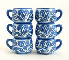 germ of an idea: Pablo Zabal Ceramic Espresso Cups / Demitasse Set / Hand Carved Set of 6 / Chilean Art Pottery Pottery Mugs, Ceramic Pottery, Pottery Art, Clay Mugs, Bleu Turquoise, Sgraffito, Tea Service, Blue China, Espresso Cups