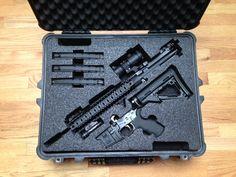 Custom Foam for a Pelican Case for a Spike's Tactical AR Custom Foam AR Pelican Cases Weapon Storage, Gun Storage, Storage Room, Smart Storage, Pistol Case, Ar Pistol, Rifles, Custom Guns, Custom Ar