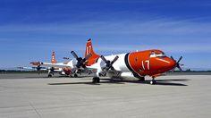 1963 Lockheed P-3A Orion N917AU c/n 185-5036 150510 , N925AU in the background. Chico Airport in California. 2017.