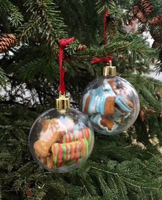 Does your dog have their own ornament for the tree? Your dog will have a place on the family tree and the best part, on Christmas, they can enjoy the treats. Each ornament contains 10 pumpkin and sweet potato treats with Greek yogurt icing, $8.00 each.