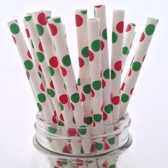 Christmas Polka Dot Mix Paper Straws, 25-pack - from category Party Goods (Uniik Stuff)