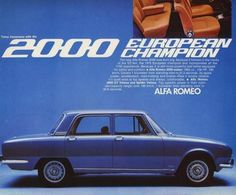 Alfa Romeo 2000 Berlina brochure. I had one. A moderately great car. Once the rust bugs stopped holding hands it dissolved into a pile of red dust.