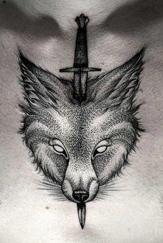 cool-dotwork-wolf-tattoo