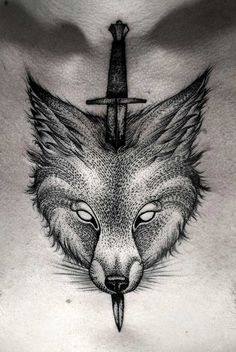 cool-dotwork-wolf-tattoo