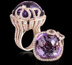 Amethyst & Tsavorite Ring  An amethyst ring with diamonds set in 18K Rose gold.
