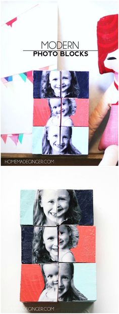 Paint these DIY photo blocks any color to fit in with your child's room or…