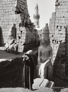Entrance to the Temple of Luxor. Luxor, Egypt. 1900-1920