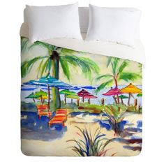 Caribbean Time Duvet Cover in a coastal watercolor design. Add a pop of color to your beach bedroom decor. Available in Twin/Queen/King