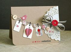 Cute card made with paper tags, buttons and a doily, find all you need here http://shop.vibesandscribes.ie/