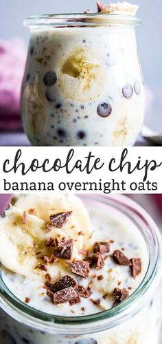 Banana Chocolate Chip Overnight Oats are an easy, healthy breakfast you can prep ahead of time for easier mornings! Made with simple ingredients you probably have on hand already, these can be put together in no time to chill in the fridge overnight. Put