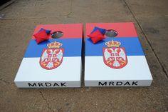 Serbian Flag and Crest Custom Cornhole set #Cornhole #Bags #Serbia