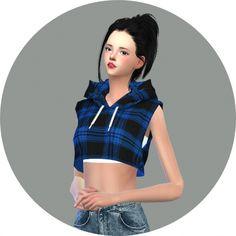 Hood Sleeveless Crop Top at Marigold via Sims 4 Updates
