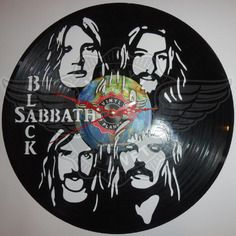 Shop for on Etsy, the place to express your creativity through the buying and selling of handmade and vintage goods. Vinyl Record Art, Vinyl Art, Vinyl Records, Clock Art, Wall Clocks, Black Sabbath, Boutique, Cool Walls, Decoration