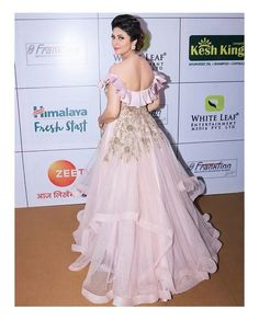 The most loved star looks like a million bucks in the dull lavender gown at the The gown is intricately beautified and embellished in pita zardosi and kali. The design grandstands a beauti Asian Wedding Dress, Indian Wedding Outfits, Indian Outfits, Wedding Dresses, Indian Bridal Fashion, Pakistani Bridal Wear, Designer Gowns, Indian Designer Wear, Western Dresses